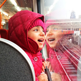 Joyful Journey by Hassan Jalal - Instagram & Mobile Android ( train photo, in the train, child portrait, mobile photo, child girl )
