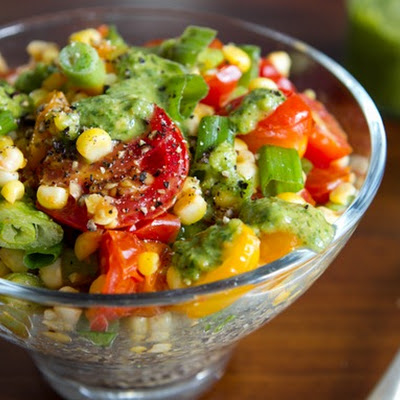 Warm Quinoa Salad with 3-Herb Green Sauce