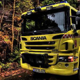 Firetruck by Sondre Gunleiksrud - Transportation Other ( canon, hdr, firetruck, yellow, fire, norway )