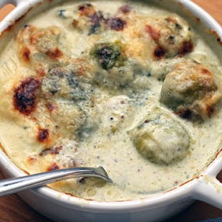 Creamy Brussels Sprouts Gratin with Blue Cheese