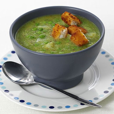 Pea & Pesto Soup With Fish Finger Croûtons