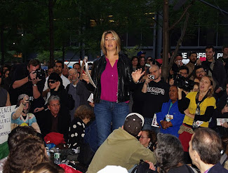 Naomi Klein on Thursday, Day 21, of Occupy Wall Street. Klein led an open forum at the event.6 October 2011