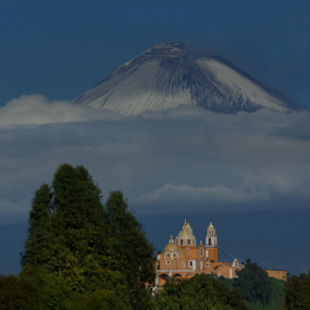 church and volcano by Cristobal Garciaferro Rubio - Landscapes Mountains & Hills