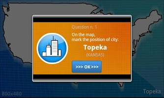 Screenshot of USA geography map quiz - BETA