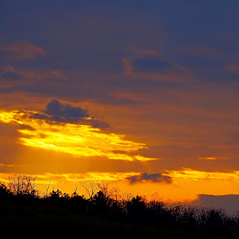 by Buddy Boyd - Landscapes Cloud Formations ( blue, sunset, yellow, gold, black,  )