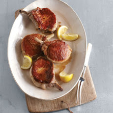 Seared and Roasted Pork Chops with Lemon