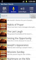 Screenshot of His Place Church Phone App