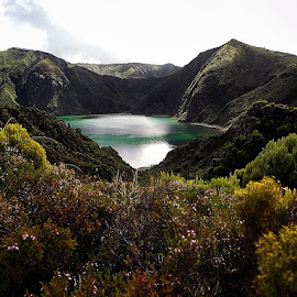 Volcano Lake by André Philip - Landscapes Mountains & Hills ( water, mountains, volcano, nature, blue, green, plants, lake, azores )