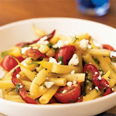Wax Bean, Roasted Pepper, and Tomato Salad with Goat Cheese