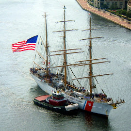 USCGC Eagle by Terry Niec - Transportation Boats ( flag, tugboat, cutter, tall ship, baltimore, uscgc eagle, masts )