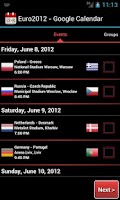 Screenshot of Euro2012 - Google Calendar