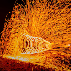 The Red Hot Tunnel by Adrian Choo - Abstract Light Painting ( light painting, steel wool, light )