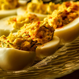 Deviled Eggs by Jon Page - Food & Drink Plated Food ( tasty, eggs, plated food, yellow, closeup )