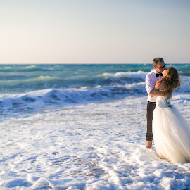 by Alexander Hadji - Wedding Other ( wedding, greece, wave, bride, foam )