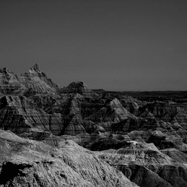 Lines of Age by Amber Nichols - Landscapes Deserts ( desert, black & white, south dakota, badlands )