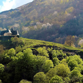 Little private castle by Vita Pundure - Landscapes Mountains & Hills ( hill, building, green, pyrenees, wallpaper, beautiful, little, forest, house, landscape, spring, private, mountains, bushes, trees, castle, france, view )
