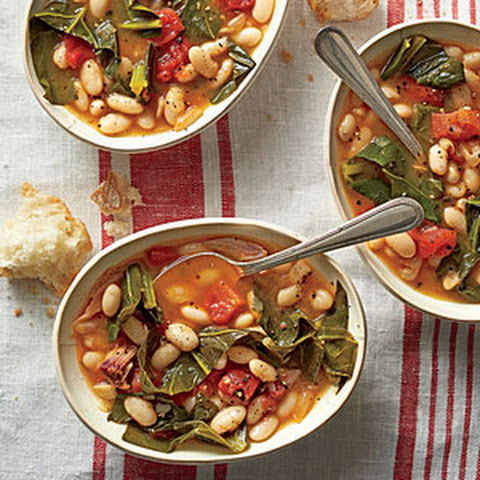 Braised Beans with Collard Greens and Ham
