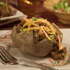 Beef-picadillo-loaded Baked Potatoes