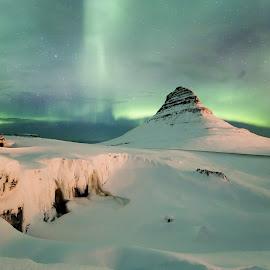 Kirkjufell mountain, frozen waterfall and aurora borealis by Aðalsteinn Grétarsson - Landscapes Mountains & Hills ( kirkjufell, iceland, winter, mountain, snæfellsnes, aurora borealis, grundarfjörður, northenlights, landscape, black and white, b&w,  )