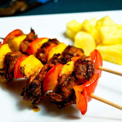 Jerk Chicken & Mango Kabobs