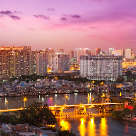 Saigon in dusk by ND Le - City,  Street & Park  Skylines ( skyline, buildings, vietnam, saigon, city )
