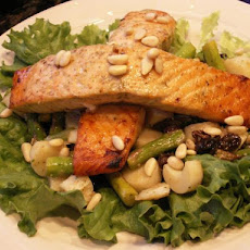 Maple-Pesto Salmon Salad With Raisins and Pine Nuts