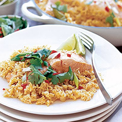Thai Coconut Rice With Salmon
