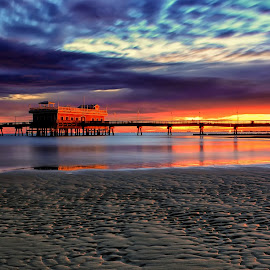 Morning Comes by James Gramm - Landscapes Sunsets & Sunrises ( water, sand, sky, bay, colors, reflections, pier, long exposure, sunrise )