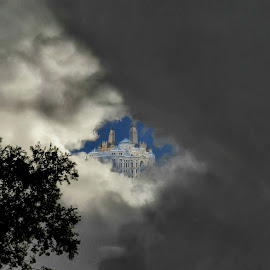 If You Squint by Vince Scaglione - Digital Art Places ( clouds, break, see, heaven, tear, trees, squint, eyes, up, hole )
