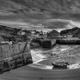Low Tide at Porthgain by Phil Portus - Landscapes Beaches ( b&w, wales, harbour, pwc132, landscape, porthgain, black and white )