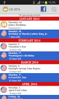 Screenshot of 2015 Holidays Calendar