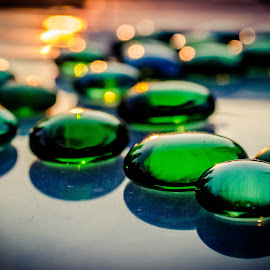 Golden green glass by Denise Johnson - Artistic Objects Glass ( green, path, glass, pebbles, golden hour )