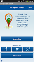 Screenshot of BENADRYL®Social Pollen Count