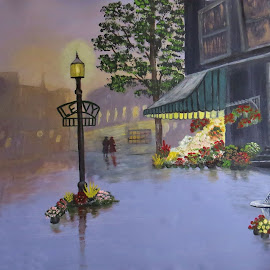 Levy Street by Leslie Collins - Painting All Painting ( street, buildings, reflections, lamp post, painting )