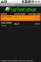 Screenshot of UK MPG Tracker