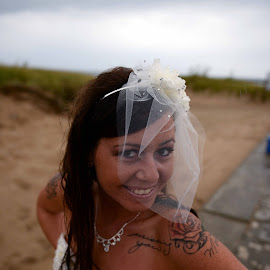 Tattoo Bride by Justin Duff - Wedding Bride ( rainy, wedding, beach, bride )