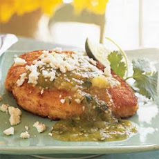 Herbed Chicken Breasts with Tomatillo Salsa and Queso Fresco