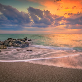 Colorful Caspersen Sunset by Bill Camarota - Landscapes Beaches ( clouds, sunset, florida, gulf, shoreline, beach, jetty, dusk, Beach, blue, water, ocean.  )