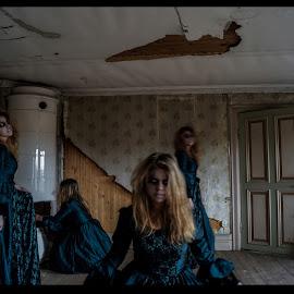Wandreing ghost by Stephanie Örjas - Digital Art People ( mansion, wandering, tiled stove, ghost, room, abandoned )