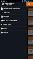 Screenshot of Provident CU Mobile Banking