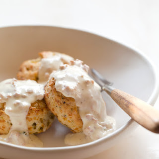 Green Chile and Cheddar Biscuits with Country Gravy