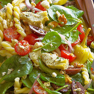Greek Spinach-Salad Pasta with Feta, Olives, Artichokes, Tomatoes and Pepperoncini