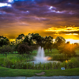 Fountain Sunset by Shawn Zoldak - Landscapes Sunsets & Sunrises ( water, sunset, fountain, golf, landscape, purple, yellow, color )