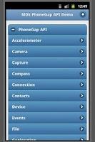 Screenshot of PhoneGap API w/ jQuery Mobile