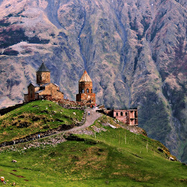 Gergeti Trinity Church by Tamsin Carlisle - Landscapes Mountains & Hills ( republic, mountain, europe, towers, church, kazbegi, grss, meadow, georgia, road, greater caucasus, gergeti trinity,  )