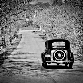 Rolling Down Memory Lane by Rob Cox - Transportation Automobiles ( black and white, 36 ford )