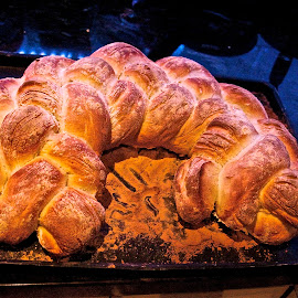 Four way plait by Bob Polkinghorn - Food & Drink Cooking & Baking ( flour, bread, artisan, plait, baked )