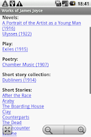 Screenshot of Works of James Joyce