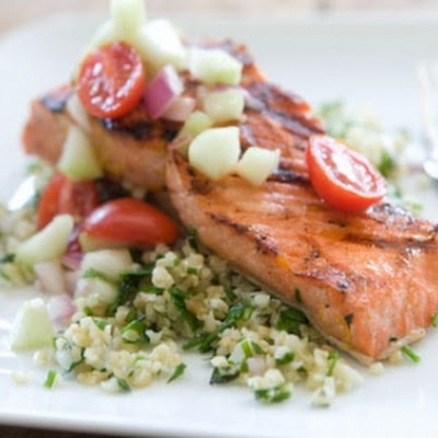 Citrus-Marinated Grilled Salmon with Tabbouleh Salad