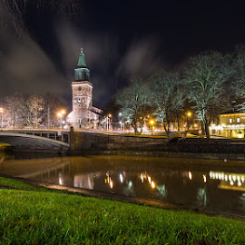 Turku Cathedral by Tomasz Woźniak - City,  Street & Park  Night ( raagoon, tomasz woźniak, finland, night, turku, finlandia, river, city )